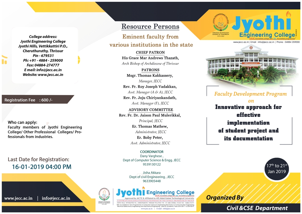 Jyothi Engineering College is a NAAC accredited college with